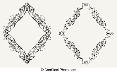 Two Original Calligraphy Rhombus Frames