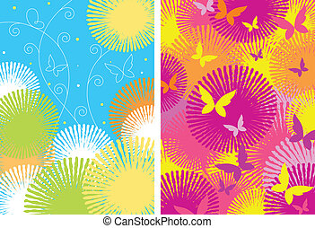 Two ornamental patterns with butterflies and flowers