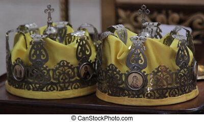 Two Orthodox Wedding Ceremonial Crowns Ready for Ceremony,...