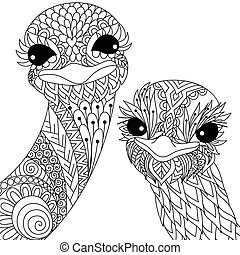 two ostriches - Two cute ostrich smiling zendoodle stylize...