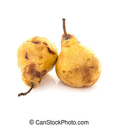 Two Over Ripe Pears on a white background