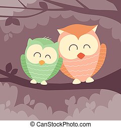 Two Owl Sitting on Branch Flat Vector