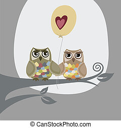 Two owls and love balloon. This image is a vector illustration