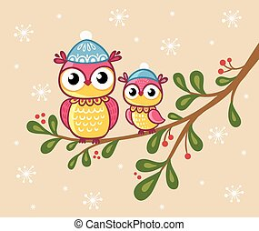 Two owls in hats sit on a branch.