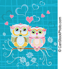 Two Owls in Love
