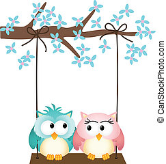 Two owls in love on a swing - Image representing a two owls...