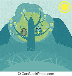 Two owls in love on a tree