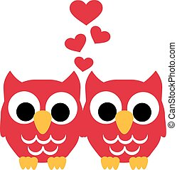 Two Owls in love with hearts
