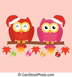 Two owls on maple tree wearing a red santa claus hat with christmas multicolor balls and colorful ornaments . Vector illustration design Christmas holiday background concept.