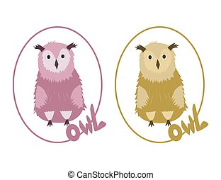 Two Owls  on the white background
