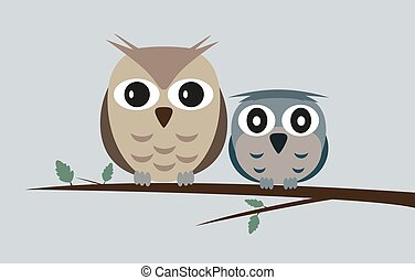 two owls on tree branch