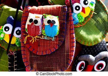 two owls sewn into a bag for sale