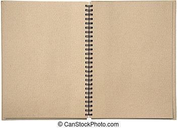 two-page, salto espiral, nota, fichário, espalhar, almofada, em branco, vazio