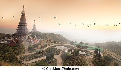 Two pagoda at Doi Inthanon, chiangmai - Thailand, between sunset time.