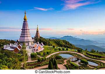 Two pagoda on the top in an Inthanon mountain, Chiang Mai,...