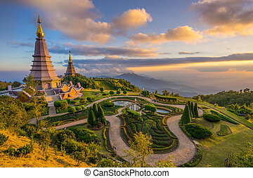 two pagodas in an Inthanon mountain - Landscape of two...