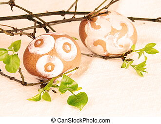 Painted Brown Easter Eggs Sepia