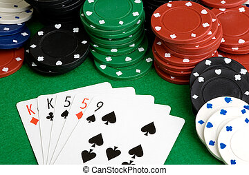 Two Pair - A poker hand with two pair on a green felt table