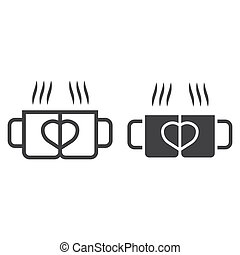 Two pair mug line and glyph icon, valentines day and romantic, love sign vector graphics, a linear pattern on a white background, eps 10.