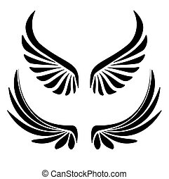 Two pair of decorative vector wings for your design.
