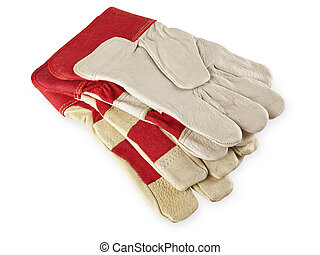 work gloves - Two pair of work gloves over the white...