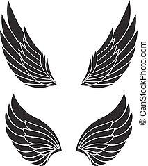 Two pairs of decorative vector wings isolated on white.