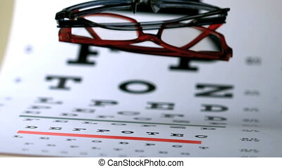 Two pairs of glasses falling onto eye test in slow motion