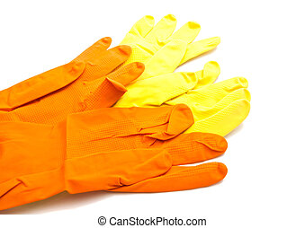 two pairs of latex gloves on white