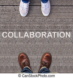 Two pairs of shoes standing on walkway with COLLABORATION