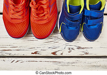 Two pairs of sport shoes.
