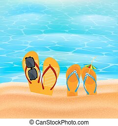 Two pairs slap on the seashore. Beach shoes on the sand with...
