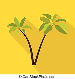 Two palm plant trees icon, flat style