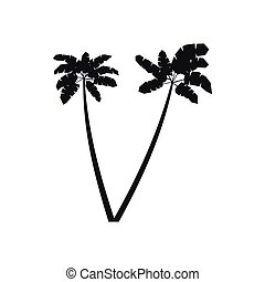 Two palm plant trees icon, simple style