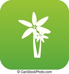 Two palm trees icon digital green