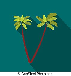 Two palm trees icon, flat style