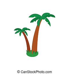 Two palm trees icon, isometric 3d style