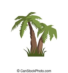 Two Palm Trees Jungle Landscape Element
