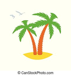 Two palm trees on a sandy island with flying past gulls. Icon. Vector illustration