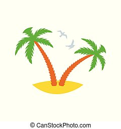 Two palm trees on a sandy island with flying past gulls. Icon. Vector illustration.
