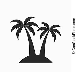 Two palm trees on island