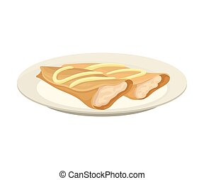 Two pancakes in the shape of a roll with a white filling. Vector illustration on white background.