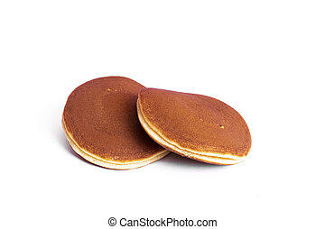 Two pancakes isolated on a white background