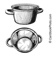 Two pans isolated on white background. Vector illustration.