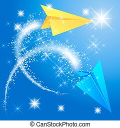 Two paper airplane and glowing star