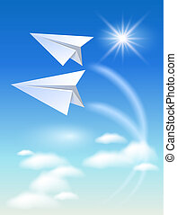Two paper airplane
