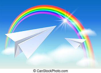 Two paper and rainbow
