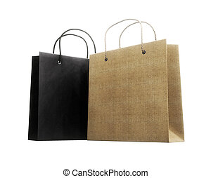 Two paper bag for purchases on a white background. 3d rendering.