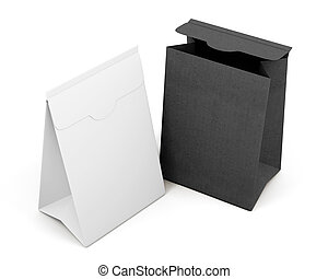 Two paper bag isolated on white background. 3d rendering