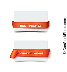 Two paper greeting cards with curved red gift ribbons isolated on white. Realistic vector illustration of postcards for web banner and print