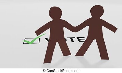 Two paper people of color with a vote checkbox and a green ...